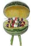 BBQ med valfria fruktsteknålar - Royaltyfria Bilder