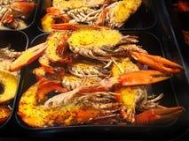 Bbq-Meeresfrüchte-Reihe stockfoto