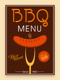 Bbq menu card, template or flyer design. Royalty Free Stock Images