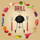 Bbq menu poster. Bbq grill menu poster with food kebab fish vegetables fork vector illustration stock illustration