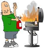 BBQ no incêndio Imagens de Stock