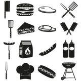 BBQ noir de blanc dehors ensemble de silhouette de 16 éléments illustration stock
