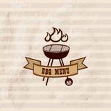 BBQ ontwerpbehang Barbecueaffiche Grilteken Stock Afbeelding