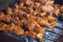BBQ op de grill wordt gekookt die Stock Fotografie