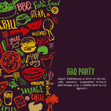 BBQ opening party announcement. Doodle hand-drawn poster with barbeque accessories, lettering vector illustration on Stock Images