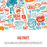 BBQ opening party announcement. Doodle hand-drawn poster with barbeque accessories, lettering vector illustration on. White background royalty free illustration