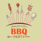 Bbq-Parteieinladungs-Kartenillustration Stockfotos