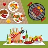 Bbq-Parteihintergrund mit Grill Grillplakat Flache Art, VE stock abbildung