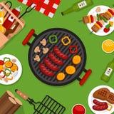Bbq-Parteihintergrund mit Grill Grillplakat Flache Art, VE vektor abbildung