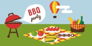 BBQ partij Barbecue en grill het koken Vlak Ontwerp Stock Fotografie
