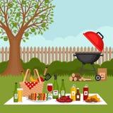 Bbq partijachtergrond met grill Barbecueaffiche Vlakke stijl, ve stock illustratie