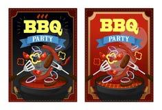 BBQ partijontwerpsjabloon met barbecuemateriaal, geroosterde worsten, lapjes vlees en groenten Kleurrijke bbq ontwerpsjabloon Vec stock illustratie