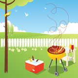 BBQ Party. Enjoy the birds and flowers in the spring of barbecue Stock Photos