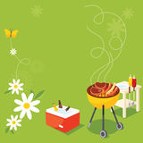 BBQ Party. Butterflies and flowers in the spring barbecue Stock Photography