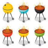 BBQ Party. Barbecue in six different colors Royalty Free Stock Image