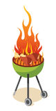 BBQ Party. The delicious barbecued chicken cooked in green Royalty Free Stock Photo