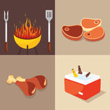 BBQ Party. Four different symbol set grill Stock Images
