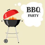Bbq party background with grill and fire.  Royalty Free Stock Photo