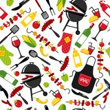 BBQ party background on white background with symbols of bbq. Seamless pattern. Barbecue background invitation on black background with symbols of bbq Stock Images