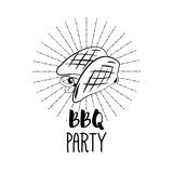 BBQ Party Badge. Chicken grill label. Vector illustration  on white. Background Stock Photos