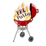 BBQ party banner grill with fire. Isolated on white. Barbecue Party Poster. Vector illustration in flat style Royalty Free Stock Photo