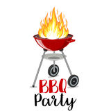 BBQ party banner grill with fire. Isolated on white. Barbecue Party Poster. Vector illustration in flat style Royalty Free Stock Photography