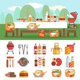 BBQ party banner set Stock Photo