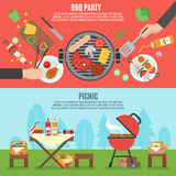 BBQ party banner set Royalty Free Stock Image