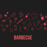 BBQ Party banner.  vector illustration on dark background, line art icons. Stock Photography