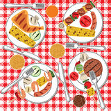 BBQ party. Barbecue food in plates on table. BBQ party Stock Photography