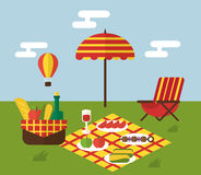 BBQ party. Barbecue and grill cooking. Flat design Royalty Free Stock Photo