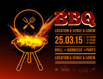 BBQ party. Barbecue grill party. Vector illustration with fire on dark background Stock Photos