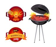 BBQ Party Barbecue Icons Set Vector Illustration. BBQ party barbecue isolated icons vector. Frying pan spatula and fork with flame. Roaster and sausages vector illustration