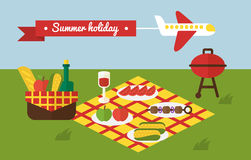 BBQ party. Barbecue summer picnic. Invitation Royalty Free Stock Photography