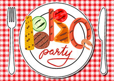 BBQ party card. Barbecue food in plates on table. BBQ party Royalty Free Stock Photography
