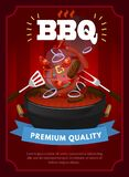BBQ party design template with barbecue equipment, grilled sausages, steaks and vegetables. Colorful bbq design template. Vector vector illustration