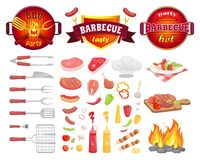 BBQ Party Dishware Vegetables Vector Illustration. BBQ party dishware and fresh vegetables isolated icons vector. Frying pan with flame utensils, flatware with stock illustration
