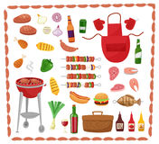 BBQ party elements isolated on white background.Products BBQ,steak, fish meat, beef, vegetables, herbs, fast food , wine. And beer. The elements of the meal in Stock Images