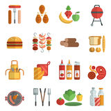 Bbq party flat icons set Stock Photo
