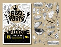 BBQ party Food poster. Barbecue template menu invitation flyer d. BBQ party Food poster Barbecue template menu invitation flyer design elements food. Hand drawn vector illustration