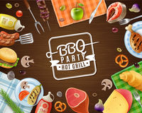 BBQ Party Frame. With emblem meat vegetables fruits sauces pastry and napkins on wooden background vector illustration stock illustration