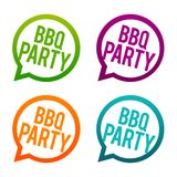 BBQ party fun round Buttons. Circle Eps10 Vector. Round speak bubbles Royalty Free Stock Photo