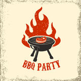BBQ party. Grill with fire on grunge background. Design element. For poster, restaurant menu. Vector illustration Royalty Free Stock Image