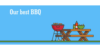 BBQ party. Horizontal banner. Outline colorful vector illustration. BBQ party. Horizontal banner. Outline colorful vector illustration Royalty Free Stock Photo