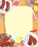 BBQ party Invitation. Food background, BBQ Grill party invitation with border and food on it, space for text, Raster Royalty Free Stock Image