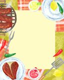 BBQ party Invitation. Food background, BBQ Grill party invitation with border and food on it, space for text, Raster Stock Photo