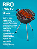 BBQ Party invitation background. Barbecue grill brochure template. Roast beef steak on charcoal. Sear meat. Cooking. Isometric vector illustration Stock Photos