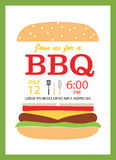 BBQ party invitation card with hamburger. And cooking tools, vect Royalty Free Stock Photos
