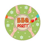 BBQ party invitation card illustration. BBQ party invitation card vector illustration. Hands holding the various elements of a barbecue party Royalty Free Stock Images