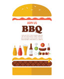 BBQ party invitation. designed as a hamburger Stock Image